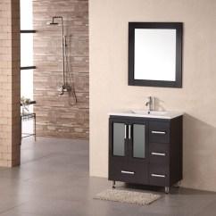 Farmhouse Undermount Kitchen Sink Pull Out Trash Can 32 Inch Modern Single Bathroom Vanity In Espresso ...