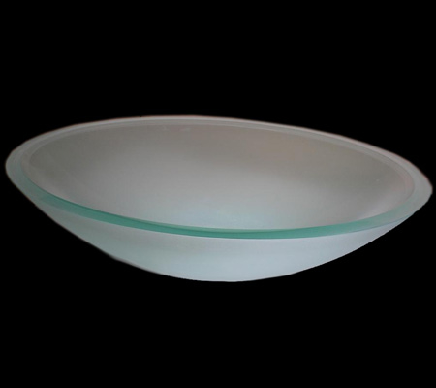 Oval Semi Frosted Glass Vessel Sink UVLFB5SF
