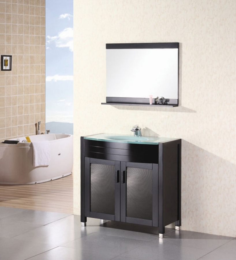 36 Inch Modern Single Sink Bathroom Vanity with Tempered Glass Counter Top UVDE01836