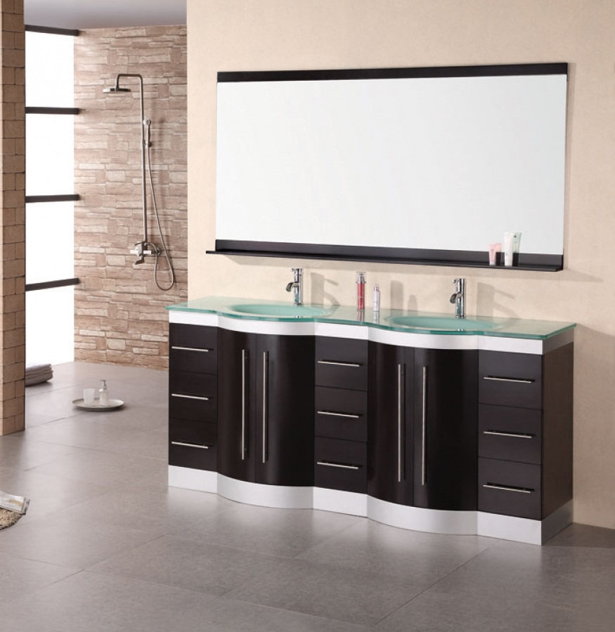 72 Inch Modern Double Sink Bathroom Vanity with Mirror and
