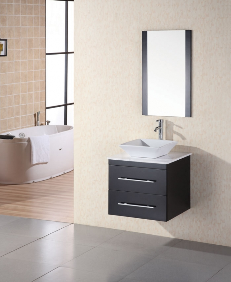 24 Inch Modern Single Sink Bathroom Vanity In Espresso