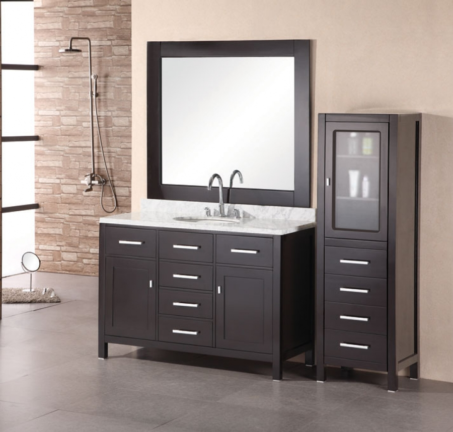 48 Inch Large Modern Single Sink Bathroom Vanity with Marble