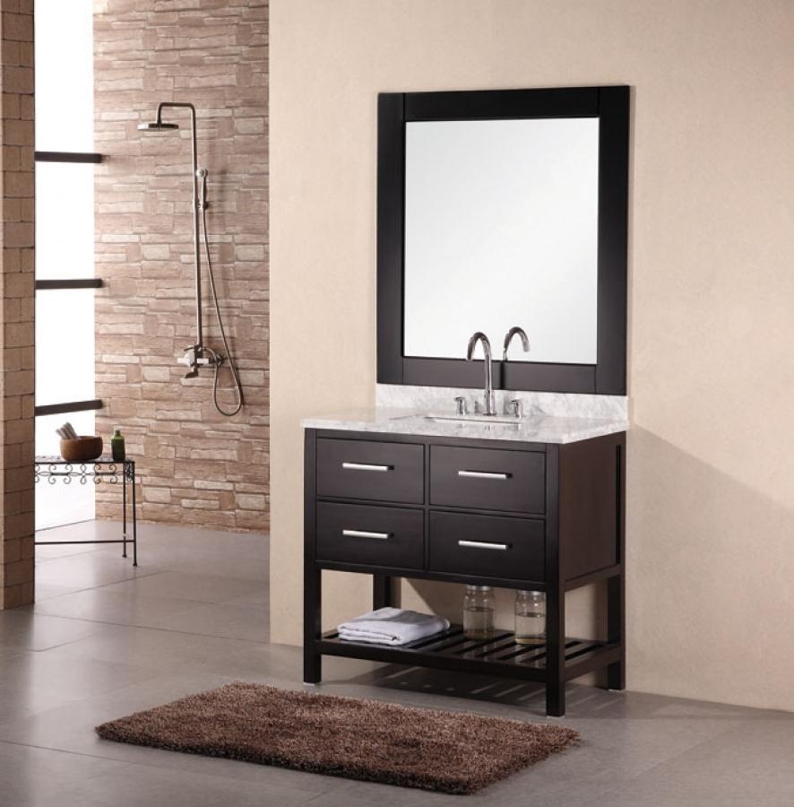 36 Inch Modern Single Sink Bathroom Vanity with Carrera White Marble UVDE077A36