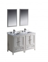 48 Inch Double Sink Bathroom Vanity in Antique White