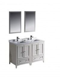 48 Inch Double Sink Bathroom Vanity in Antique White ...