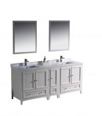 72 Inch Double Sink Bathroom Vanity in Antique White ...