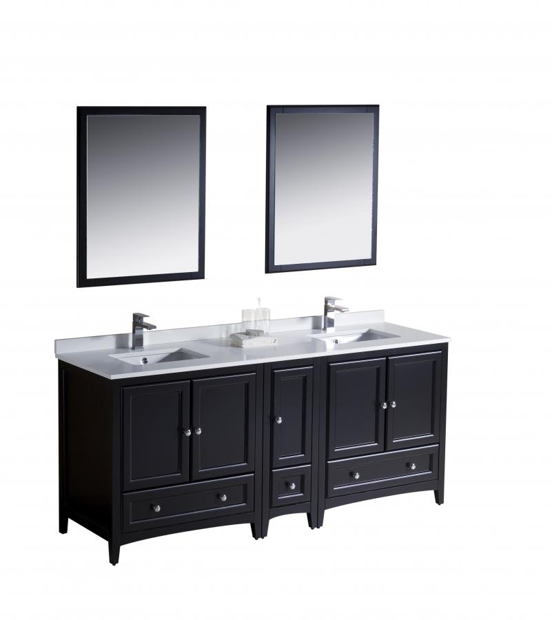72 Inch Double Sink Bathroom Vanity in Espresso