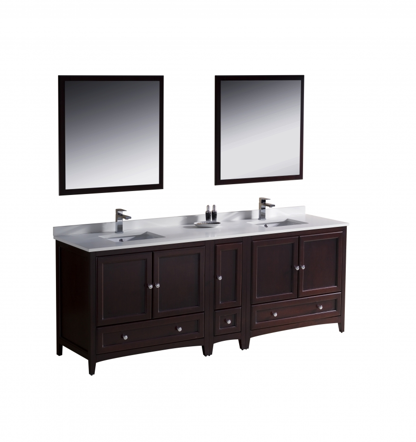 84 Inch Double Sink Bathroom Vanity in Mahogany