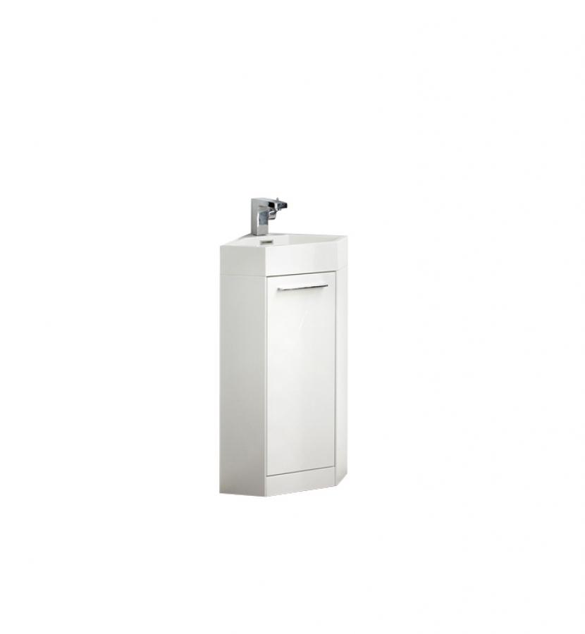 14 Inch Small White Modern Corner Bathroom Vanity