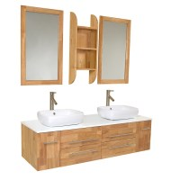 59 Inch Natural Wood Modern Double Vessel Sink Bathroom ...