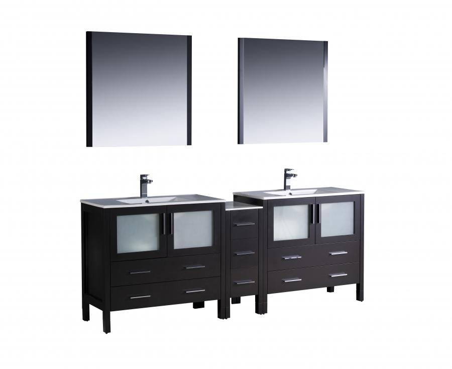 84 inch espresso double sink bathroom vanity set on sale
