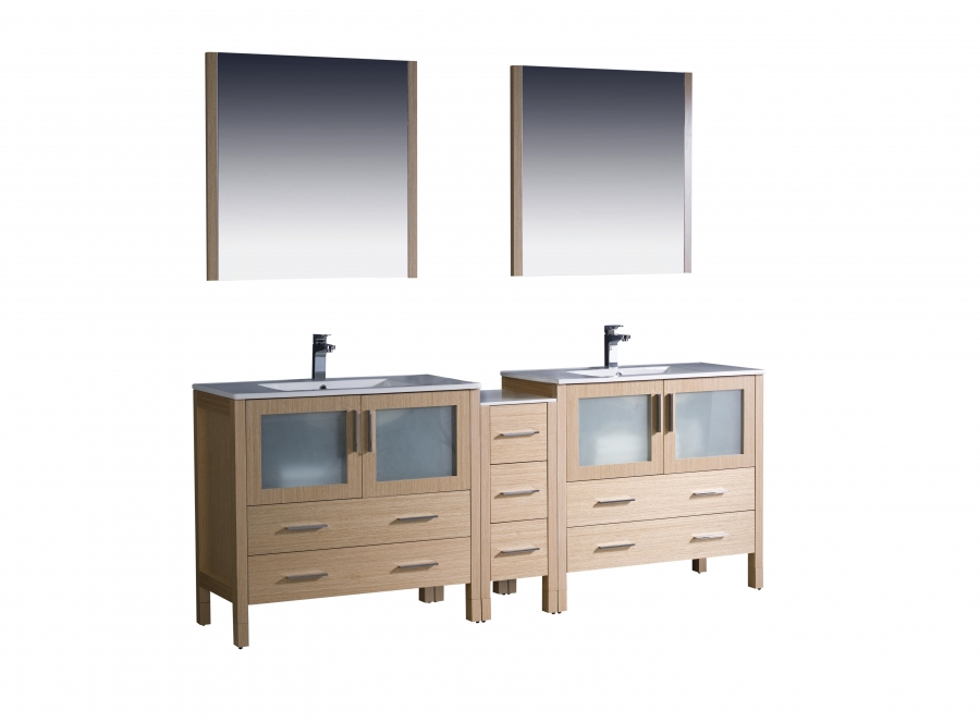 84 Inch Double Sink Bathroom Vanity in Light Oak with