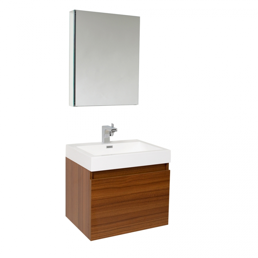 23.5 Inch Teak Modern Bathroom Vanity with Medicine