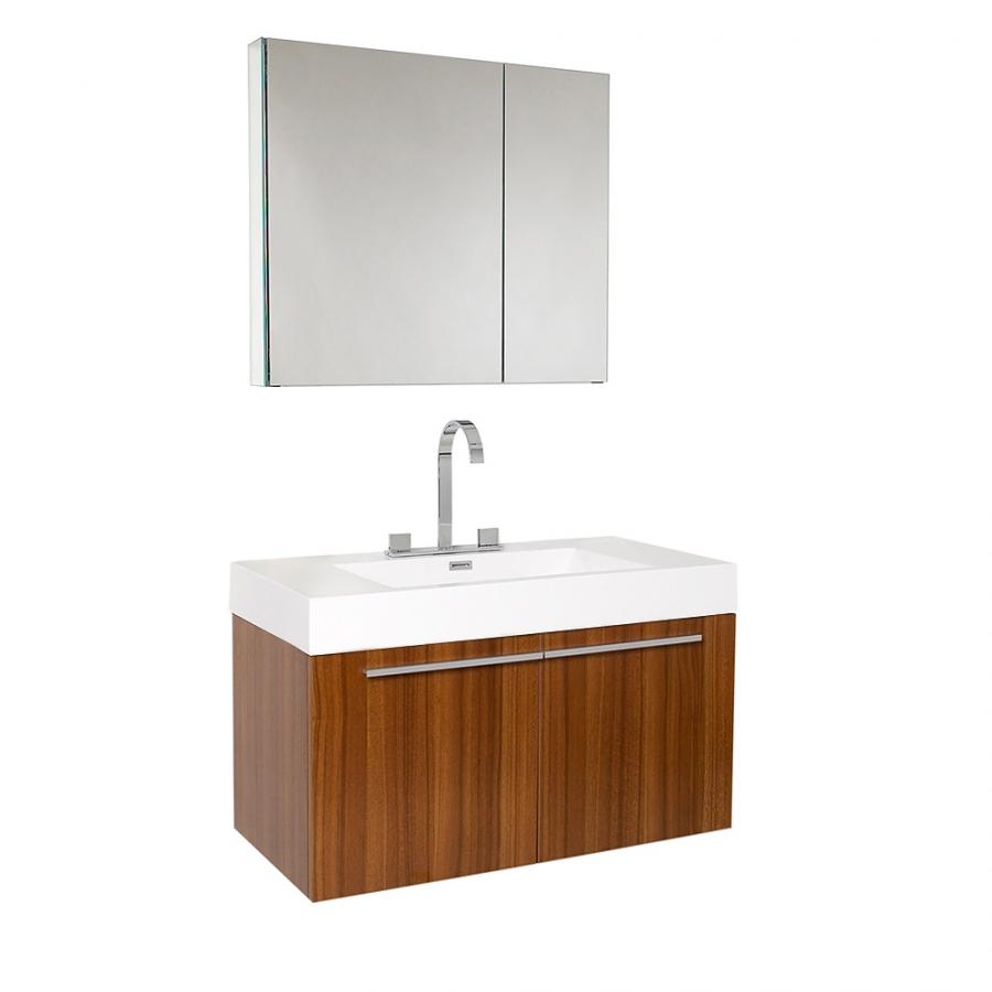 35.5 Inch Teak Modern Bathroom Vanity with Medicine