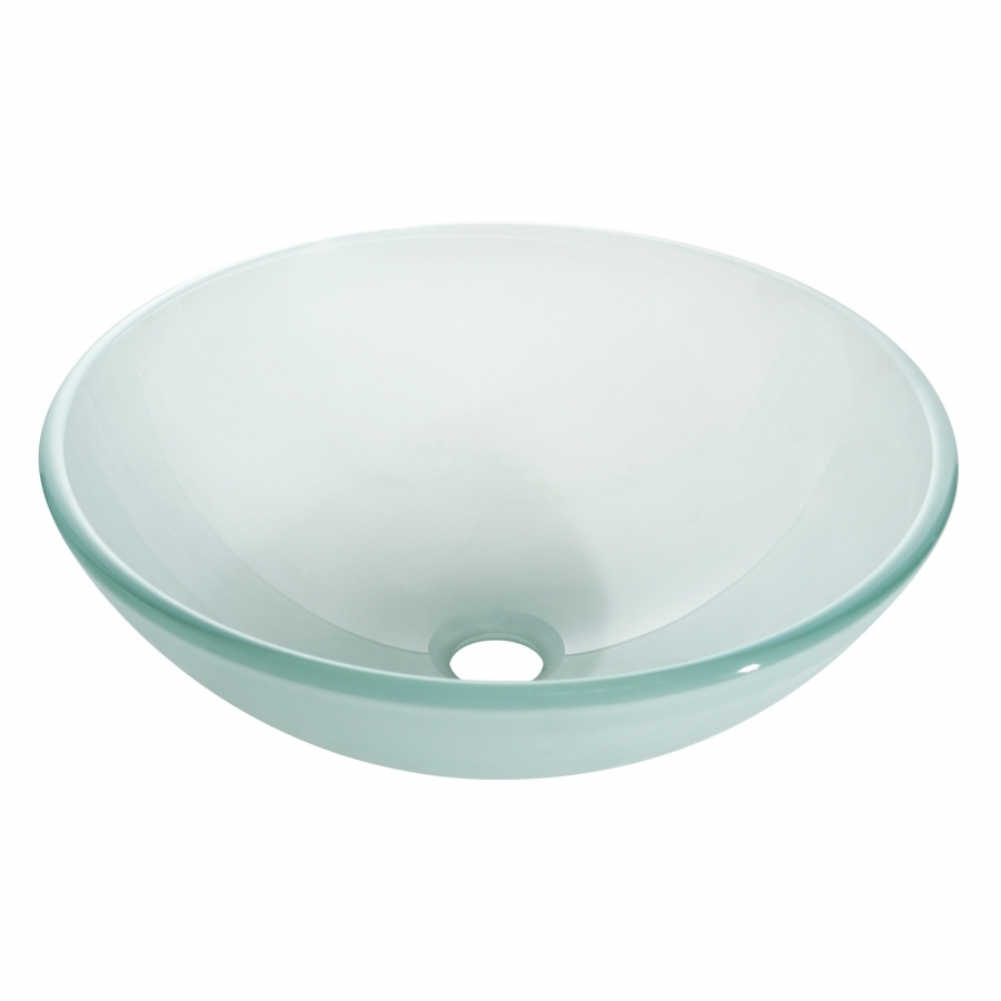 Multi Layer Frosted Unique Shaped Glass Vessel Sink UVACGVE420FR