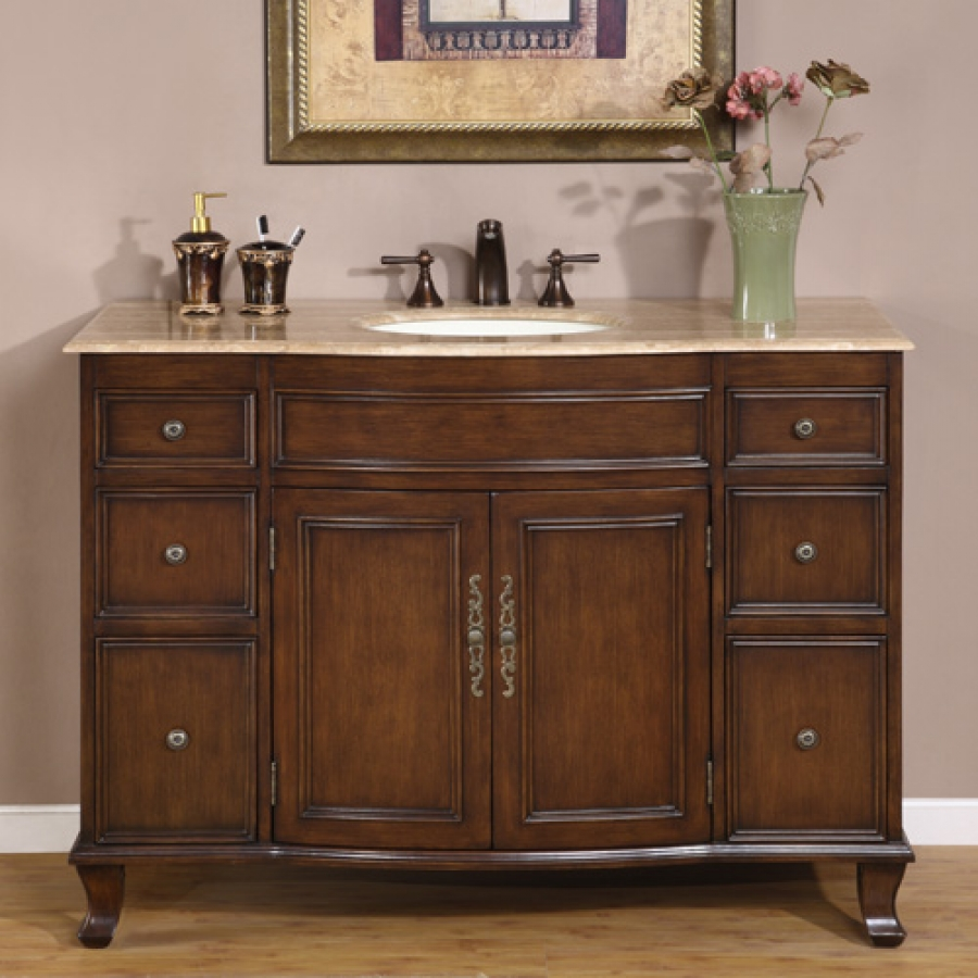 48 Inch Antique Brown Single Sink Bathroom Vanity