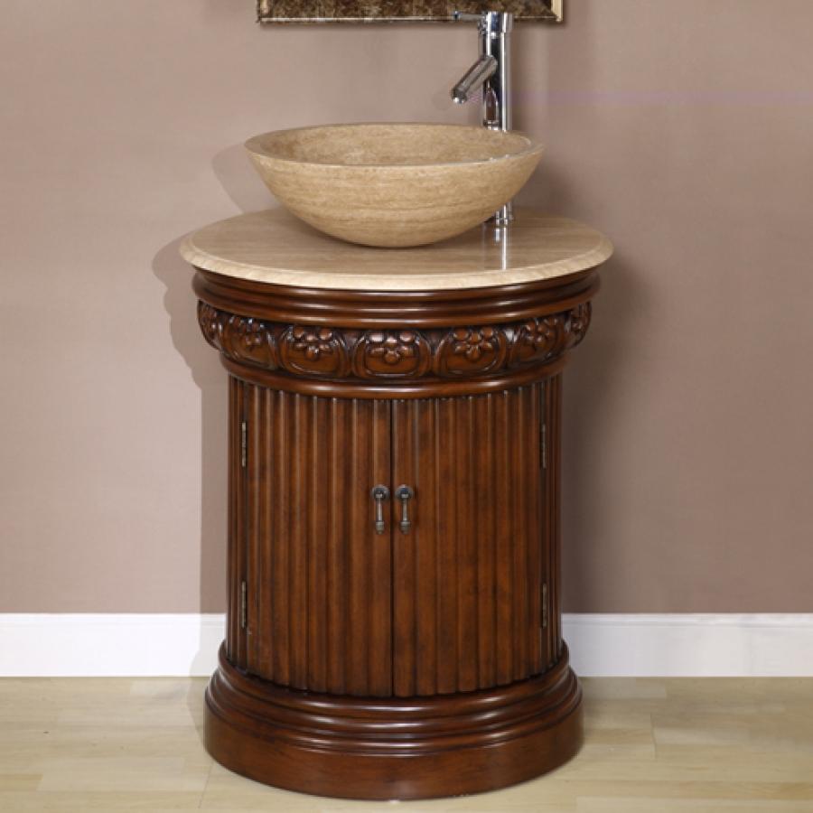 24 inch small pedestal bath vanity with vessel sink