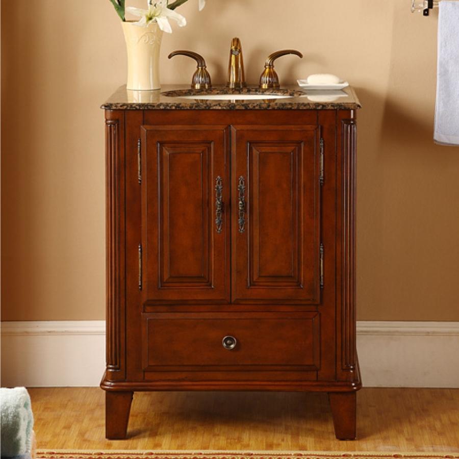 28 Inch Single Sink Bathroom Vanity with Granite Counter