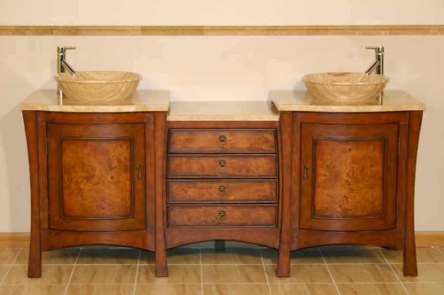 72 Inch Large Double Vessel Sink Vanity With Four Drawer