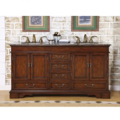 Large Kitchen Sink Dimensions Refacing Cabinets Cost 60 Inch Furniture Style Double Vanity With Travertine ...