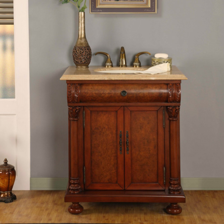 32 Inch LED Lighted Single Sink Bath Vanity with Travertine