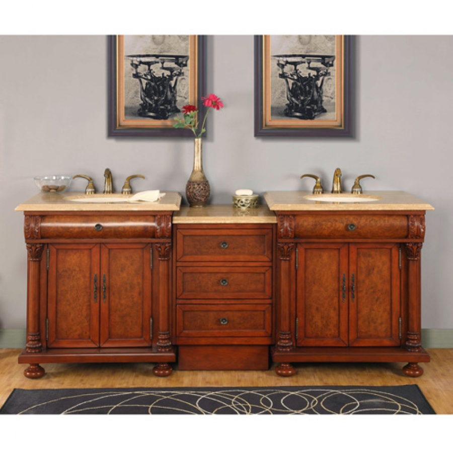 825 Inch Light Brown Double Sink Vanity With LED Lighting