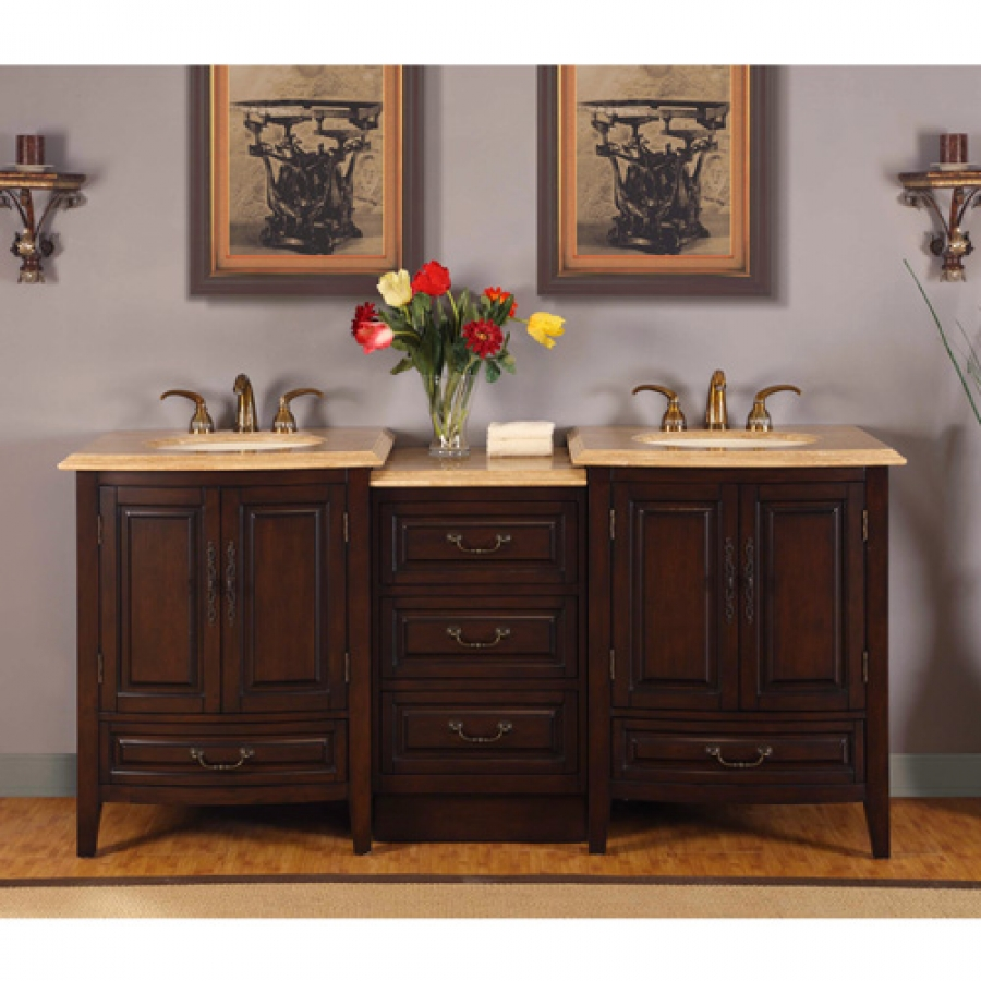 735 Inch Double Sink Vanity with Under Counter LED Lighting