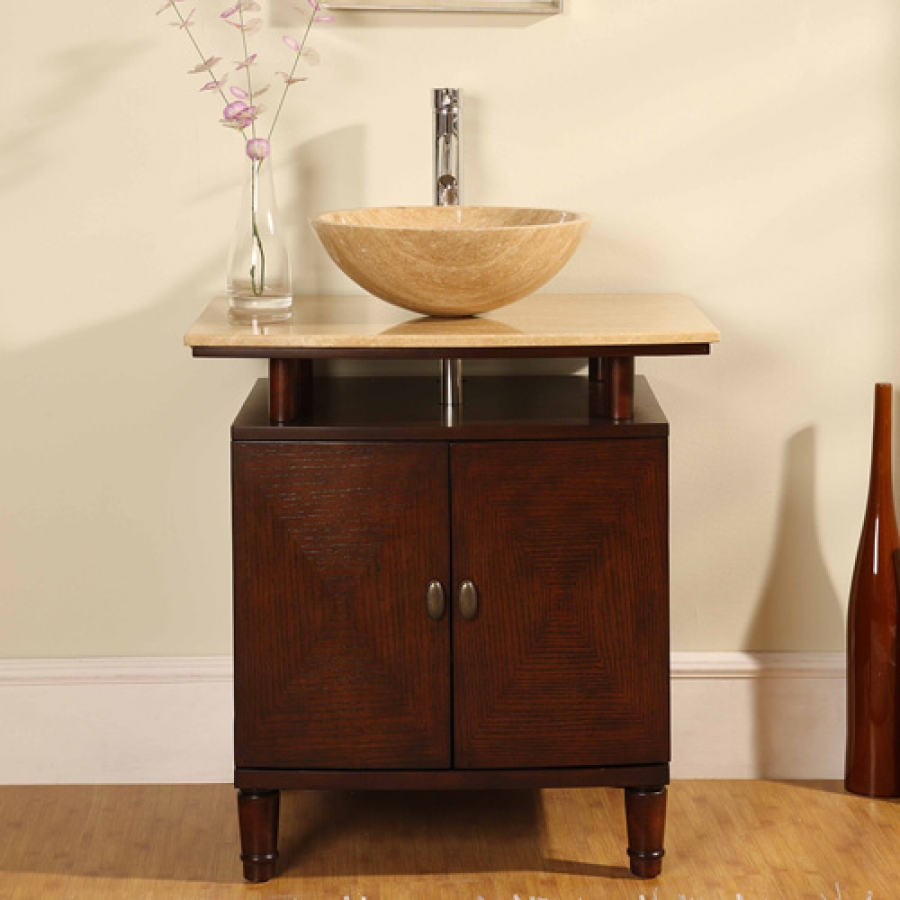 kitchen cabinet doors lowes pine chairs for sale 29 inch modern vessel sink vanity with travertine top ...