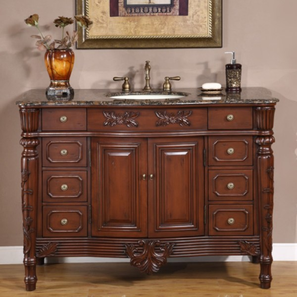 Single Sink Vanity With Antique Brown Finish And