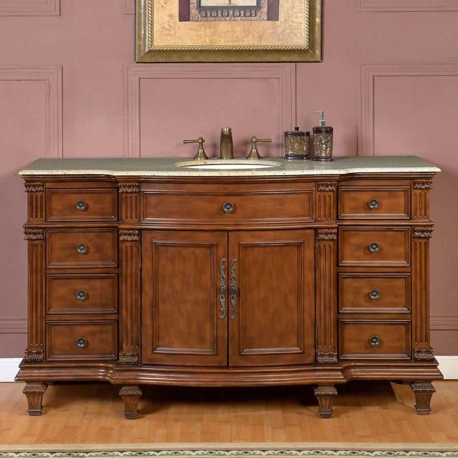 60 Inch Transitional Single Bathroom Vanity with a Kashmir