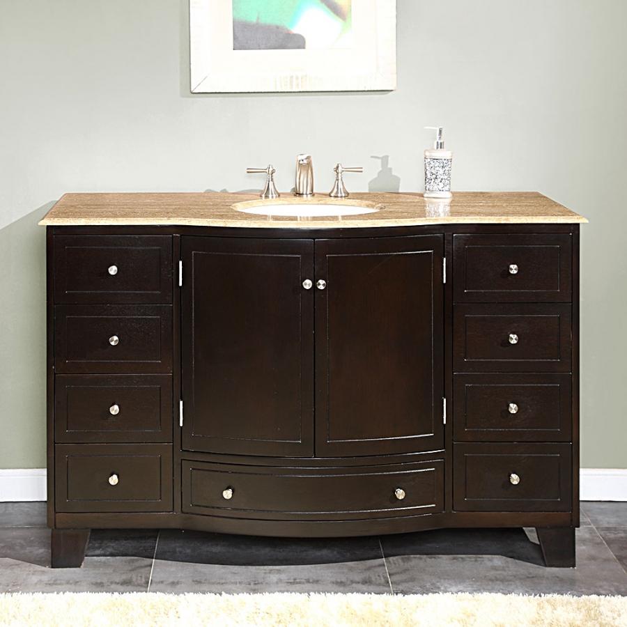55 Inch Single Sink Bathroom Vanity with Travertine UVSR070355JANPROMO