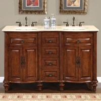 55 Inch Double Sink Bathroom Vanity with Cream Marfil ...