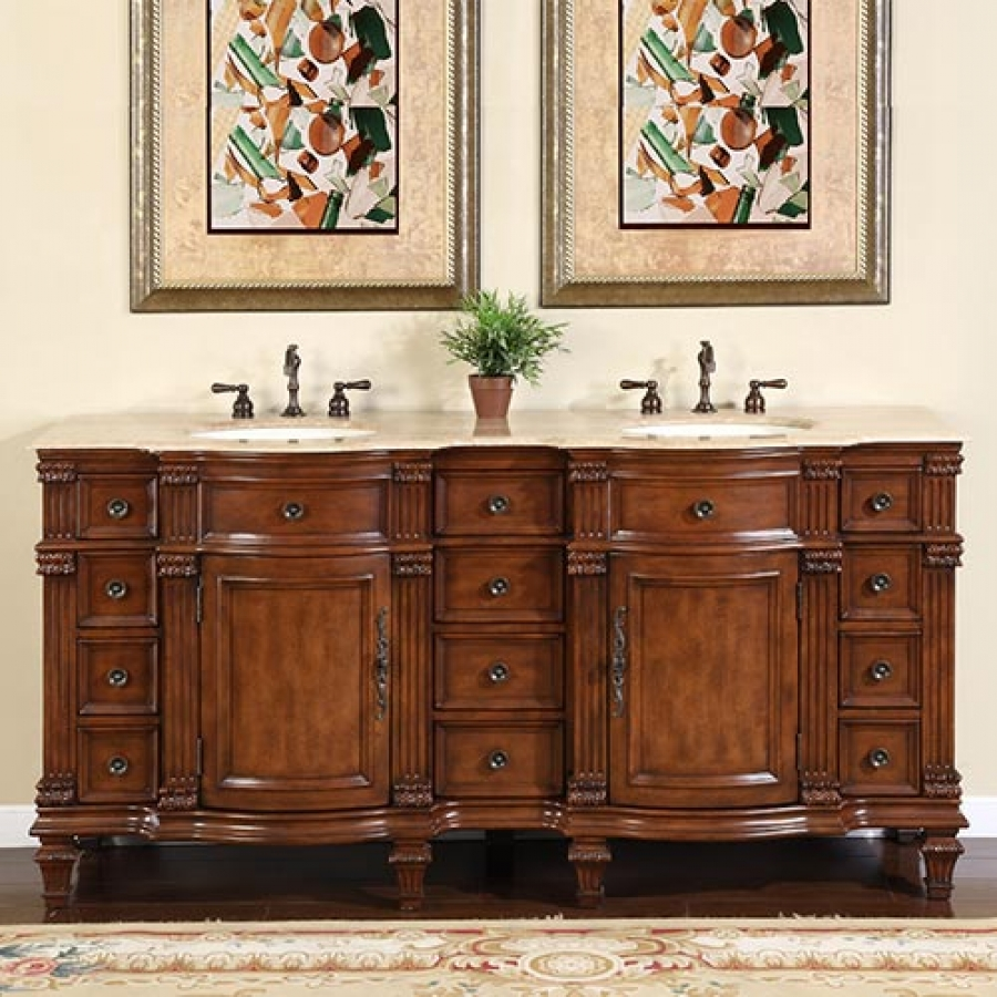 72 Inch Large Double Sink Vanity Cabinet with Travertine