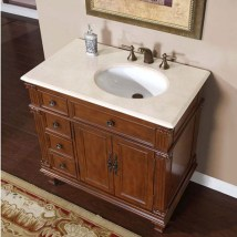 Single Sink Bathroom Vanity With Cream Marfil