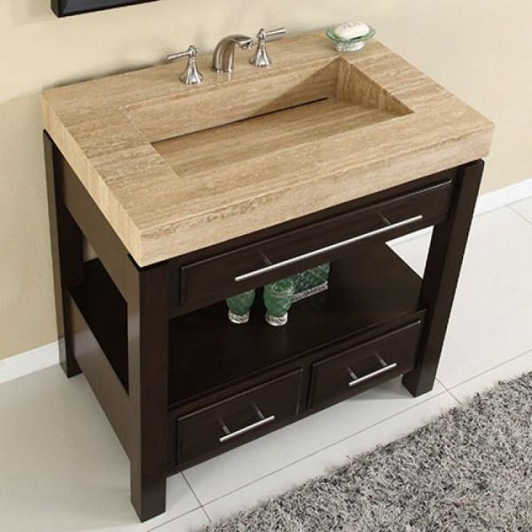 Espresso Single Sink Bathroom Vanity With Travertine