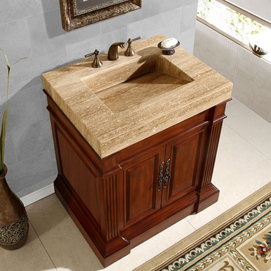 325 Inch Single Sink Vanity With A Unique Travertine Top