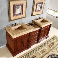 83 Inch Double Sink Vanity with a Unique Travertine Top ...