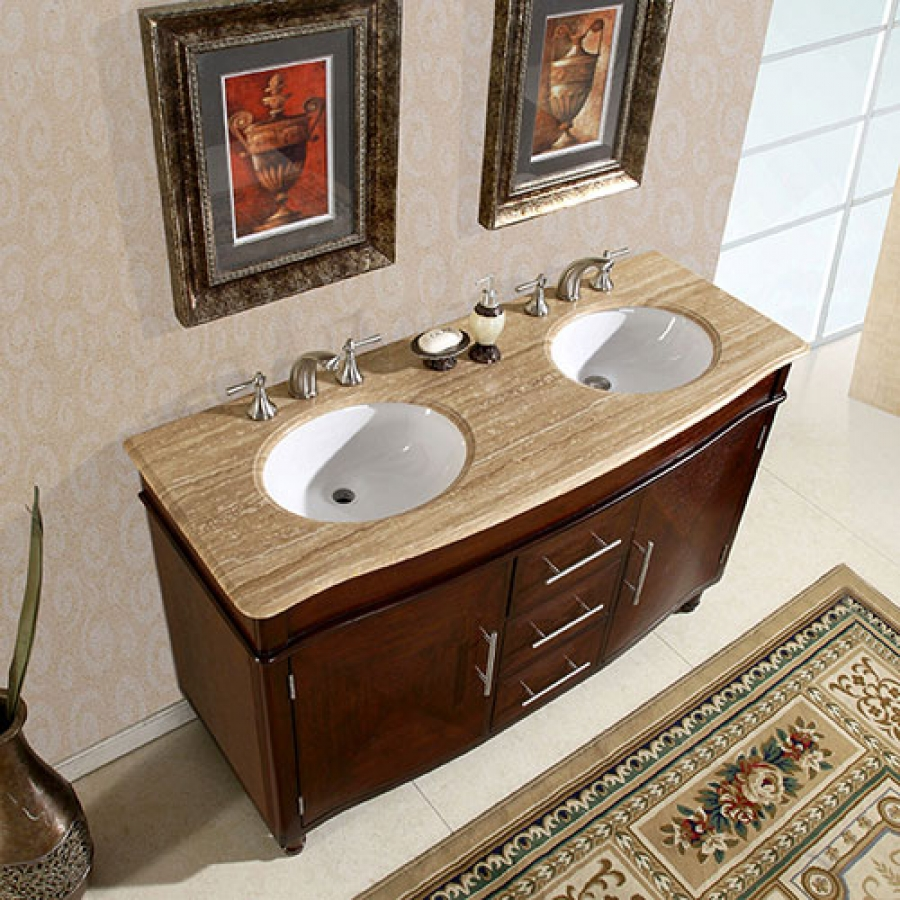 55 Inch Double Sink Vanity with Travertine Top and Undermount White Ceramic Sinks UVSR022255