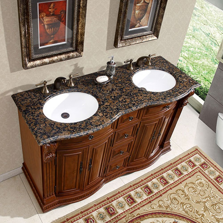 55 inch small double sink bathroom vanity with granite