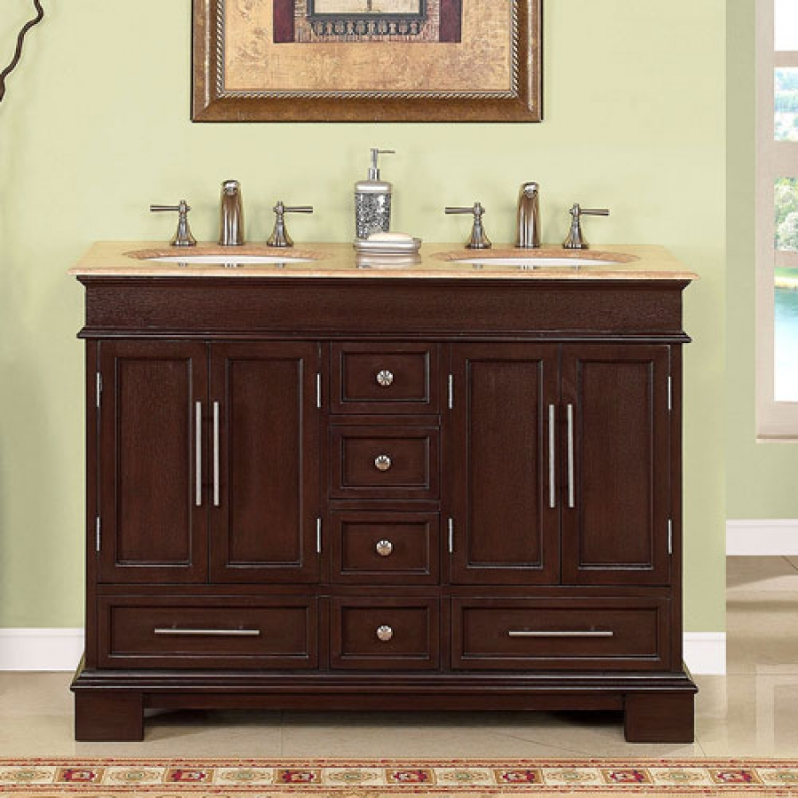 small white kitchen sinks cabinet finishes 48 inch double sink bathroom vanity in dark walnut uvsr022448