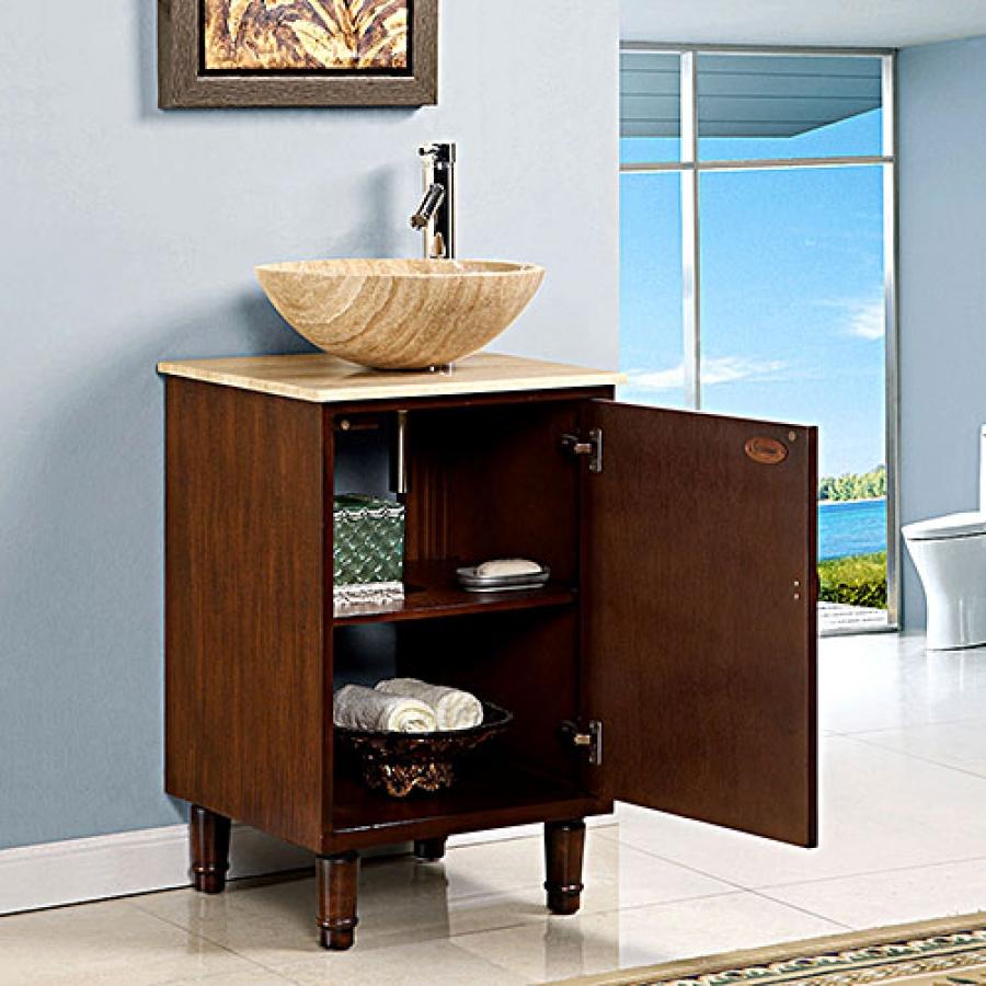 20 inch vessel sink bathroom vanity with travertine
