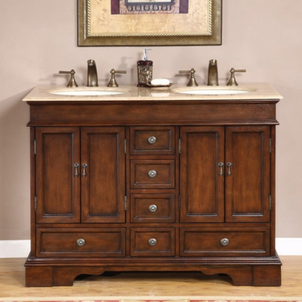 Small Double Sink Vanity In Antique Brown With