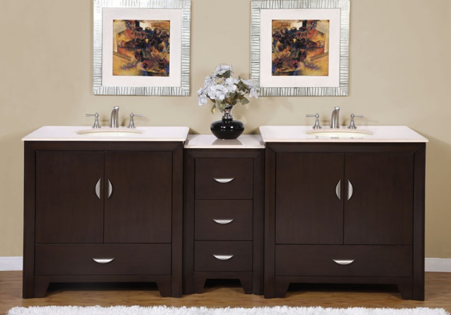 90 Inch Modern Double Bathroom Vanity with Choice of
