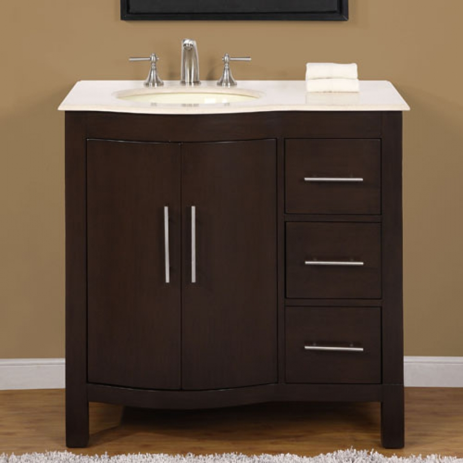 36 Inch Modern Single Bathroom Vanity with Marble