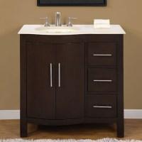 36 Inch Modern Single Bathroom Vanity with Cream Marfil ...