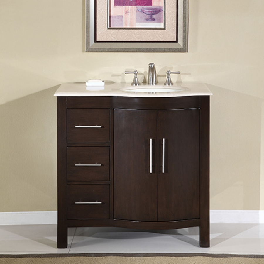 36 Inch Modern Single Sink Bathroom Vanity with Cream