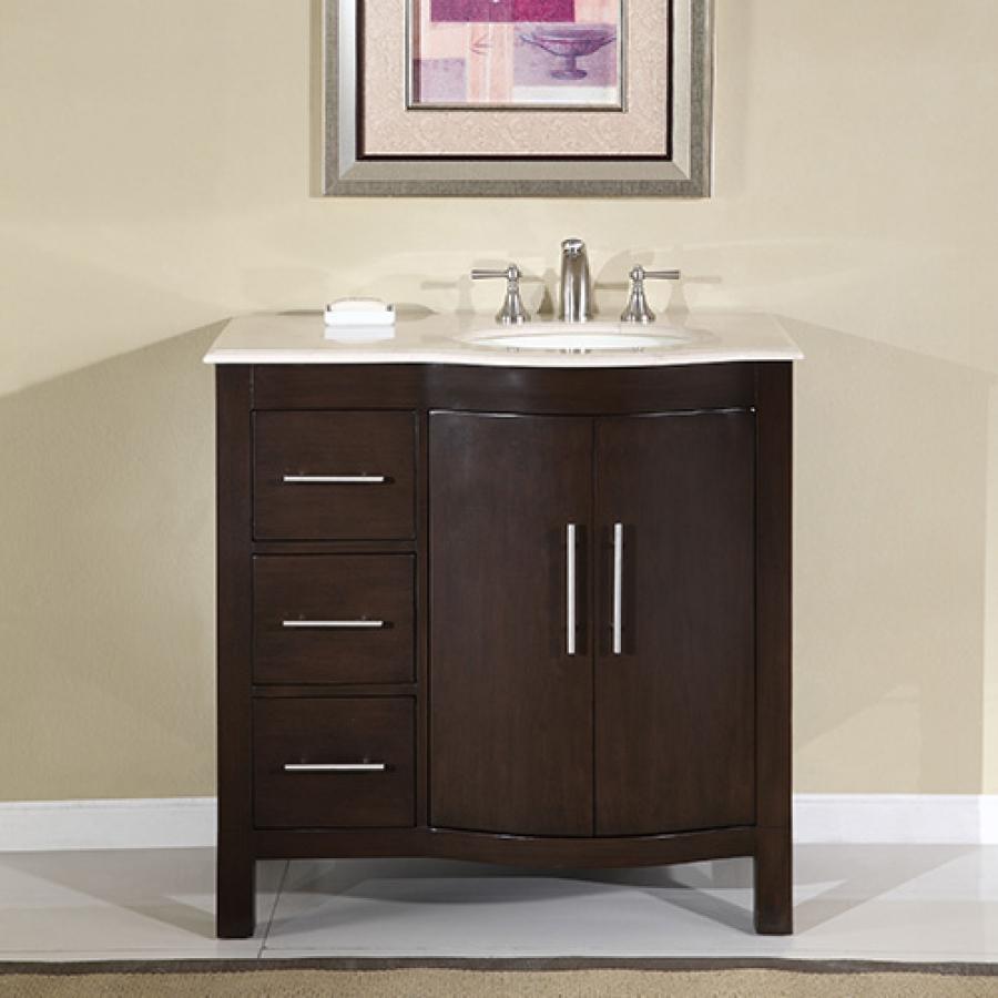 36 Inch Modern Single Sink Bathroom Vanity with Cream Marfil Marble UVSR0912R36