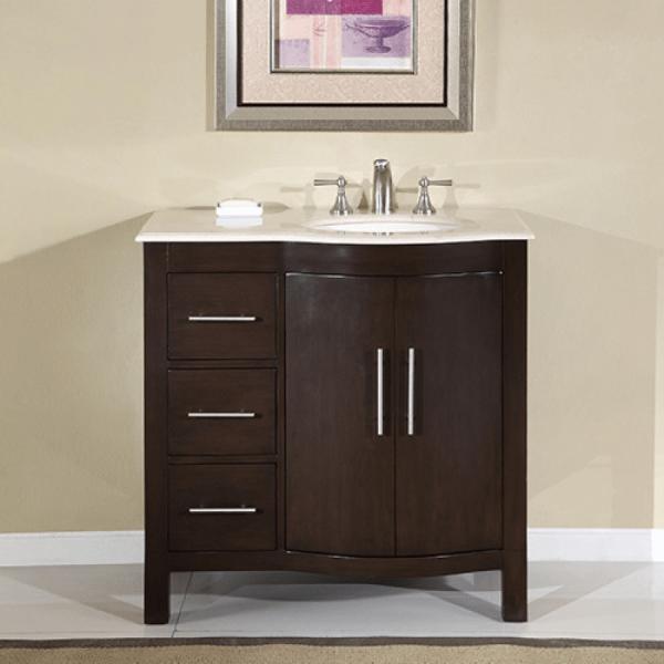 Modern Single Sink Bathroom Vanity With Marble