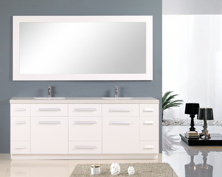 84 Inch Double Sink Bathroom Vanity with Quartz Top