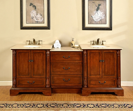 87 Inch Double Sink Bathroom Vanity with Middle Cabinet of